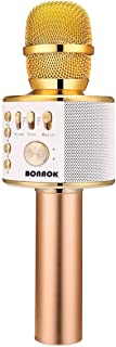 BONAOK Wireless Bluetooth Karaoke Microphone,3-in-1 Portable Handheld karaoke Mic Speaker Machine Home Party Birthday Graduation Gift for iPhone/Android/iPad/Sony/PC/All Smartphone(Q37 Golden)