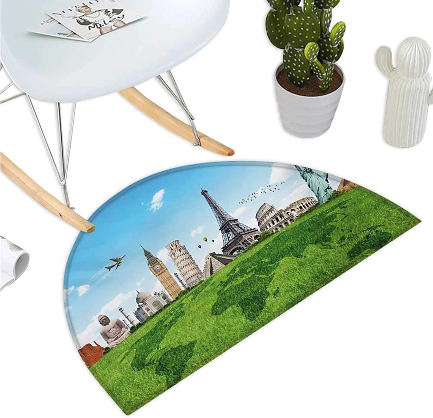 Map Semicircular Cushion Famous Historical Monuments of The World Theme Holiday Travel Destinations Entry Door Mat H 35.4  xD 53.1  Pale bluee Green Ivory
