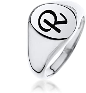 Personalized initials Oval Signet Name Ring 925 Sterling Silver