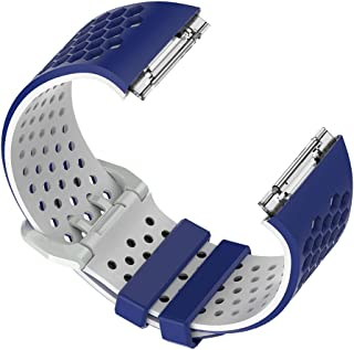 交換バンド Fitbit ionic専用 全5色 通気性 防水 シリコン スポーツ アウトドア - ブルー+ホワイト