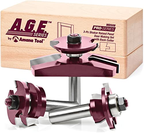 lowest A.G.E. Series by Amana Tool MD508 Shaker Raised Panel Cabinet Door high quality Making Carbide Tipped Router Bit sale Set with Back Cutter and 1/2-Inch Shank, 3-Piece sale