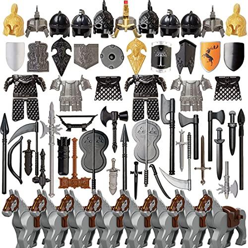 LesDiy Antikes Rom Ritter Helm, 71 St. Custom Waffen Set mit Helm, Rüstung, Brustpanzer, usw. für Soldaten Mini Figuren SWAT Team Polizei, kompatibel mit Lego Figuren
