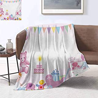 jecycleus Kids Birthday Children's Blanket Baby Girl Birthday Celebration Party with Flags and Bears Cute Toys Print Lightweight Soft Warm and Comfortable W70 by L70 Inch Pale Pink