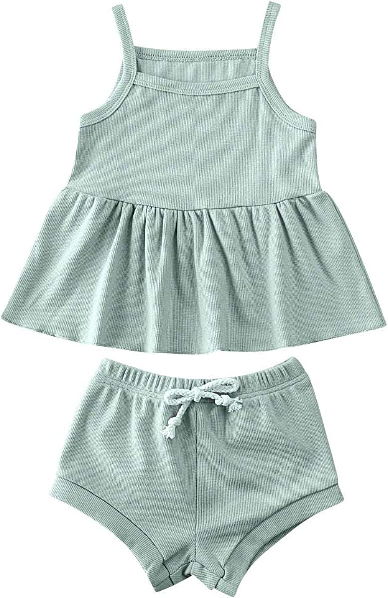 Baby Toddler Girl Max 63% OFF Summer NEW before selling ☆ Rib Stitch C Solid Shorts Tops Bloomers