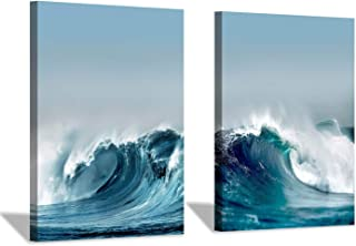 Ocean Wave Canvas Wall Art: Aerial Shots Seascape Graphic Art Painting Print Picture for Dinging Room(16''x12''x2pcs)