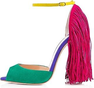 Women's Fringe Decoration Peep Toe High Heel Sandal Ankle Buckle Big Size for Party