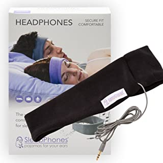 SleepPhones Classic Headphones | Ultra Thin Speakers in Lightweight & Comfortable Headband | 4 Foot Braided Cable Connects to Audio Devices | Best for Insomnia | Midnight Black - Fleece Fabric