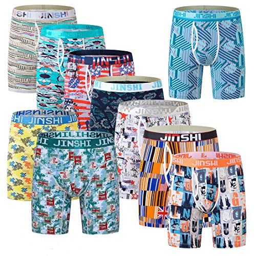 JS Collections Jinshi No Ride up Boxer Briefs Underwear for Men Long Leg Mens Athletic Underpants Pack, Random-6, US 2XL =Tag CN 3XL