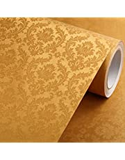 wolpin Polyvinyl Chloride Tree And Flowers Sticker Wallpaper 45 x 500 cm, Gold