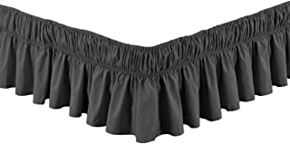 "Linen Plus Elastic Bed Skirt 17"" Drop Easy On/Easy Off Dust Ruffled Solid New (Charcoal/Dark Grey, Queen-King)"