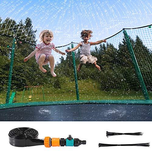 Fostoy Aspersor Trampolín Set, 12m Exteriores Rociador de Trampolín para Niños, Verano Aspersor para Parque Sistema de Agua Divertido Juego de Fiesta Jardín