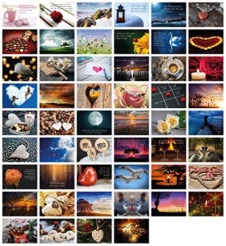 52 Postkarten für Hochzeit Postkartenspiel, Hochzeitsspiel Liebe Postkarten Set Hochzeitsgeschenke Hochzeits-Postkarten, Clever Pool - romantische Postkarten mit schönen Motiven & Sprüchen