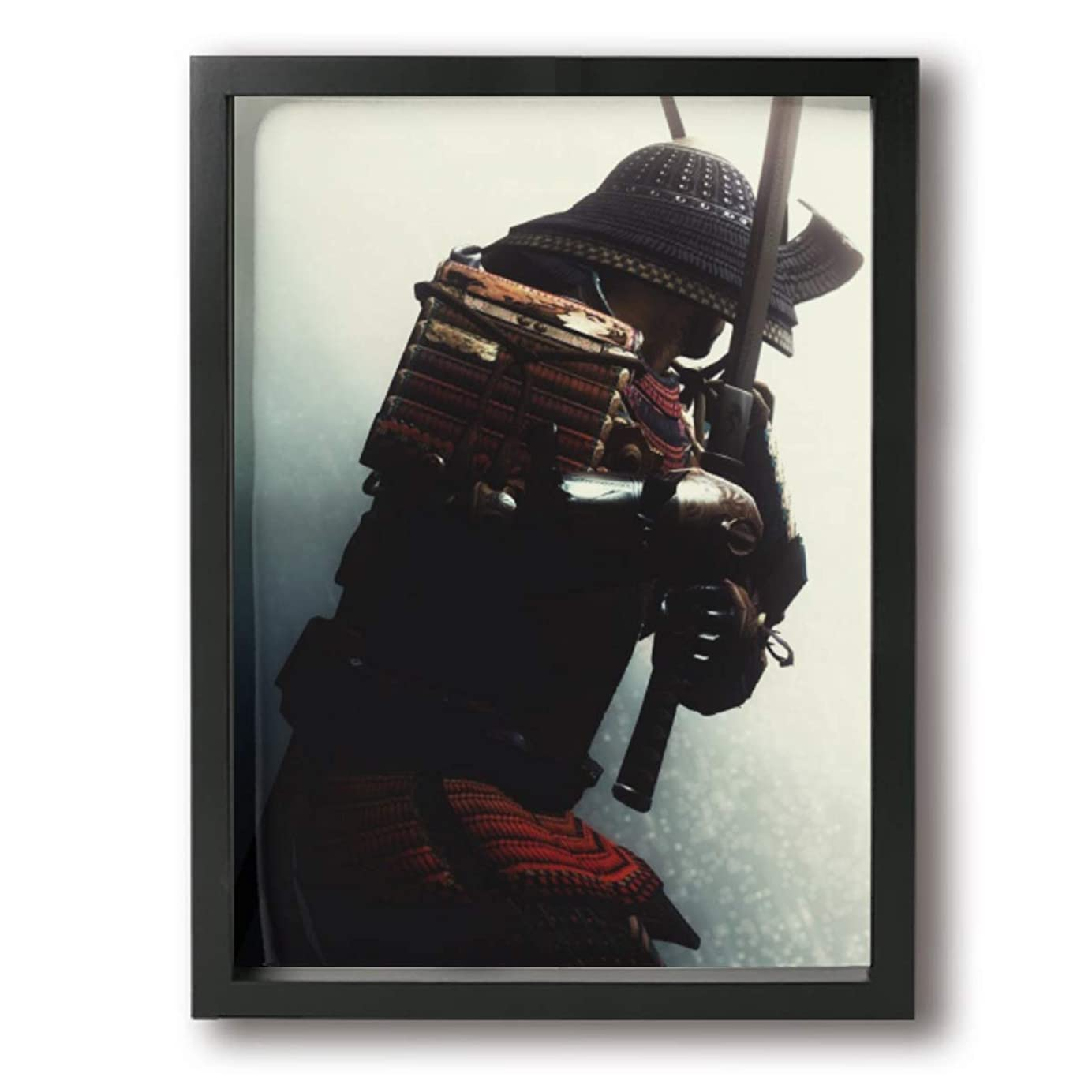 狂う致命的恐ろしいですKana-I 武士 日本 室内装飾 額入り絵画 壁に掛かる お祝いギフト 30×40cm