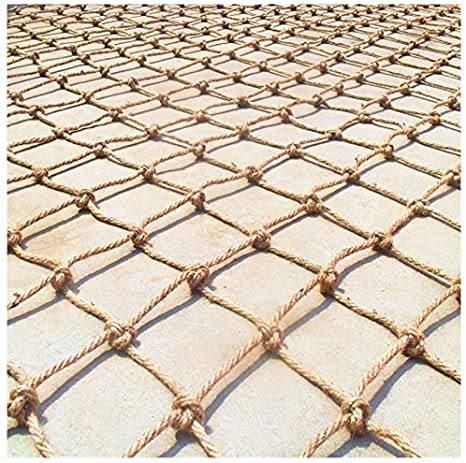 Size : 1 * 1m Birds Net Heavy Duty Playground Climbing Netting Waterproof Hemp Rope Net Ladder Truck Trailer Cargo Net Garden Outdoor Decor Balcony Stair Protection Fence Decor Mesh 3 * 3ft