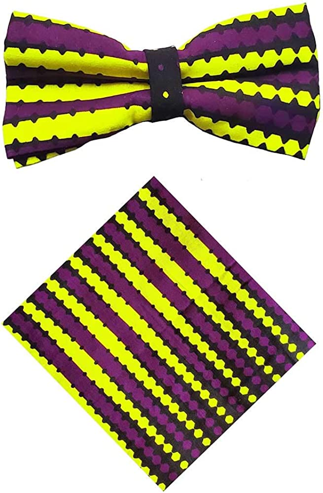 Purple and Yellow African Print Bow Tie and Pocket Square