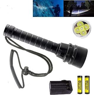 BESTSUN Brightest Diving Flashlight, 5X CREE XM-L2 10000 Lumens Underwater Flashlight Super Bright 100M Scuba Safety Dive Light Torch for Divers Under Water Sports