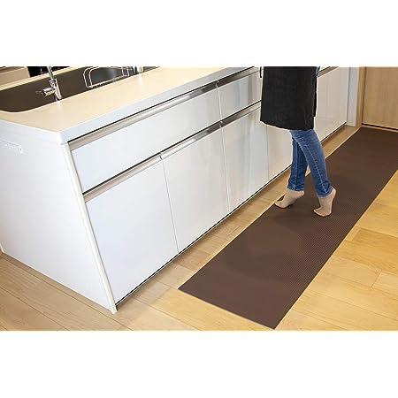洗濯いらず ずれない キッチンマット 【 ふく楽マット for Kitchen 240cm×50cm ダークブラウン 】