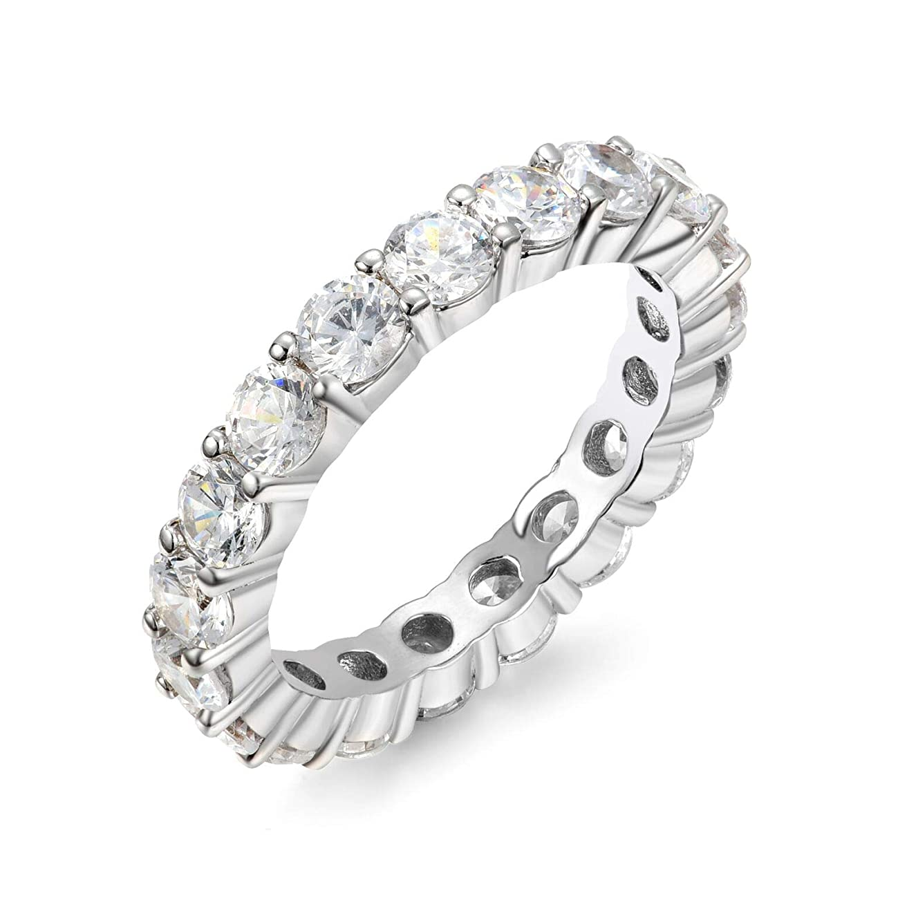 NYC Sterling 3.00mm Round Cubic Zirconia Luxury Eternity Band