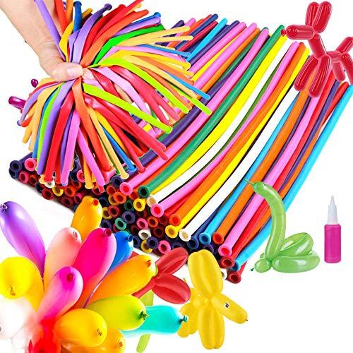 Remebe Modellierballons mit Pumpe, [200 Stück] Buntes Luftballons Kit, Ballon Figuren mit Ballon Pumpe, Magic Luftballons mit Luftpumpe, DIY Ballon, Bunt Ballons Deko für Weihnachten Party Hochzeit