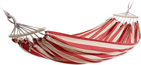 Hammocks Canvas Double Hammock Camping Swing Bed With Portable Bag for Garden Backyard Outdoor (Color : Red)