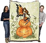 Pumpkin Fairy - Amy Brown - Cotton Woven Blanket Throw - Made in The USA (72x54)
