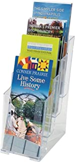 1InTheOffice 4-Tier Brochure Holder, Plastic Literature Brochure Size Stand, Wall Mount or Counter Top Use Clear Acrylic 4