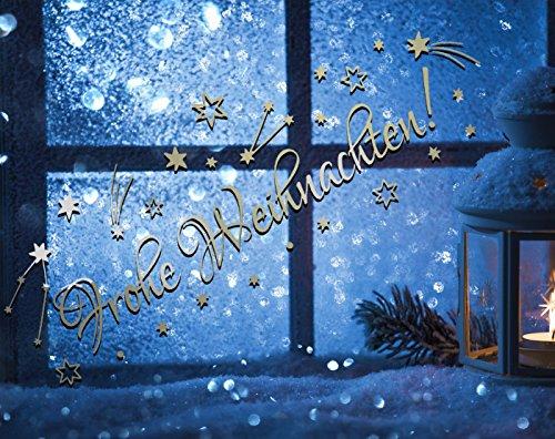 tjapalo® TK37 Schriftzug ~frohe Weihnachten~ 50x18cm Farbe SILBER Fensterdeko Weihnachten Aufkleber selbstklebend Sterne Sternschnuppen Sticker Fenster Weihnachtsdekoration Weihnachten Wandtattoo Kinder Autoaufkleber Sternchen