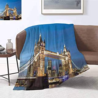 London Bedding Microfiber Blanket Scenery of Landmark Tower Bridge at Twilight with Skyscrapers England UK Image Super Soft and Comfortable Luxury Bed Blanket W91 x L60 Inch Blue and Ivory