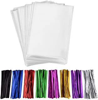 200 Pcs 10 in x 5.5 in Clear Flat Cello Cellophane Treat Bags(1.4mil) Good for Bakery, Cookies, Candies ,Dessert.