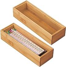 mDesign Bamboo Office Desk Cabinet Drawer Organizer Tray Bin - Eco-Friendly, Multipurpose - Use in Drawers, on Desks, Shel...