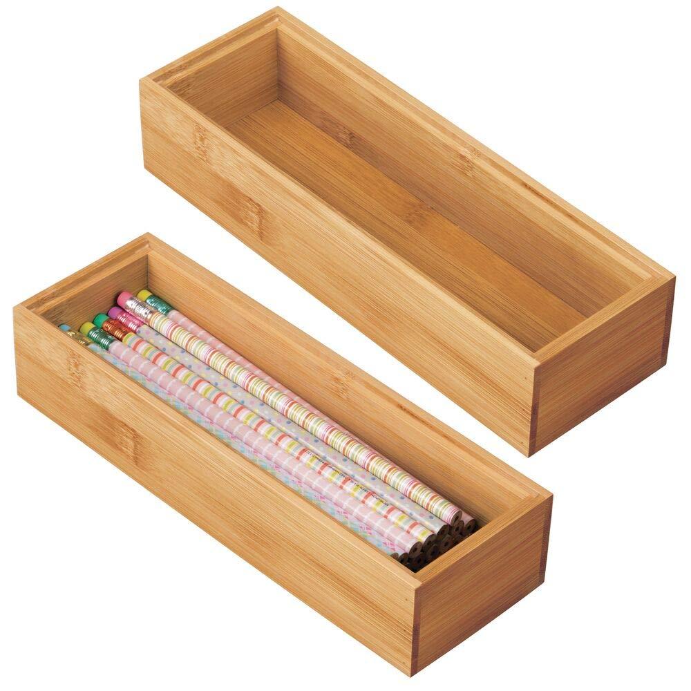 mDesign Juego de 2 Cajas organizadoras para Escritorio y cajón – Caja Rectangular de bambú – Organizador de Madera artículos de Oficina y Manualidades – Color Natural: Amazon.es: Hogar