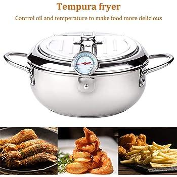 seawe Freidora, Recubrimiento Antiadherente Tempura Freidora Olla con Termómetro Y Tapa Freidora Sartén Control De Temperatura Mini Sartén Profunda para Cocina: Amazon.es
