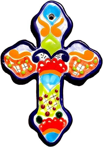 墨西哥 Talavera 墙十字架 8X5 5 手绘瓷砖手工制作墨西哥 Cruz 多色