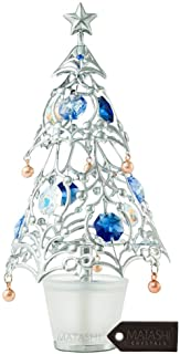Matashi 24K Gold Plated Crystal Studded Christmas Tree Home Decorative Tabletop Hanging Ornament (Silver with Colored Crystals)