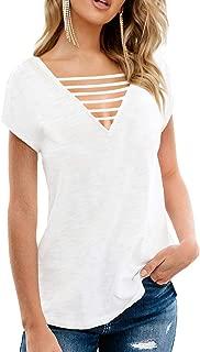 Women Summer Tops Short Sleeve Deep V Neck Front Criss Cross T Shirts