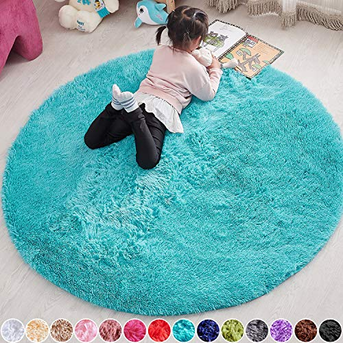 PAGISOFE Round Blue 4x4 Area Rug, Circle Rugs for Girls Boys Baby Room Fluffy Carpets and Shaggy Rugs Small Kids Teepee Fuzzy Mat Soft Reading Rug Circular Rug 4x4 Rugs for Children Room