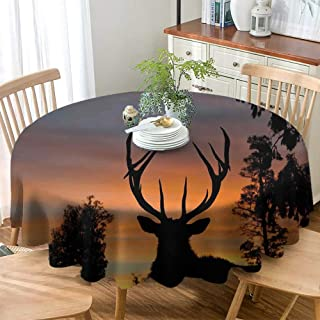 DILITECK Christmas Tablecloth Decorative Round Tablecloth Antlers Decor Black Deer Red Sky Daily use 36 Inch Table Cloth Background West Coast