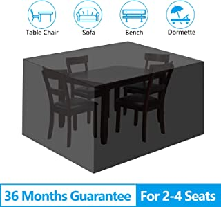 "EEEKit Patio Table and Chair Covers, 210D Rectangular Patio Table Cover, Patio Furniture Cover, Tear-Resistant, UV Resistant, Durable Waterproof Dustproof Outdoor Cover for Garden 53.15""x53.15""x29.53"""