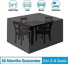 "EEEKit Patio Table and Chair Covers, 210D Rectangular Patio Table Cover, Patio Furniture Cover, Tear-Resistant, UV Resistant, Durable Waterproof Dustproof Outdoor Cover for Garden 53.15""x53.15""x29.53"""