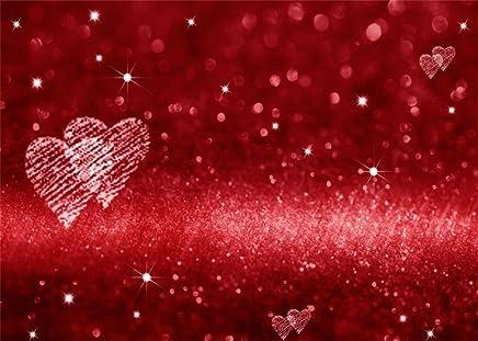 Leowefowa 7X5FT Vinyl Photography Backdrop Valentines Day Red Hearts Bokeh Halos Glitter Sequins Romantic Theme Background