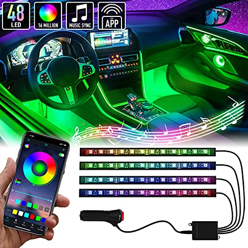 Mega Racer LED Lights for Car Interior - 48 LED RGB Chips Over 16 Million Customizable Colors, Music Sync and 27 Style Effects Waterproof, App Controlled iPhone Android Compatible, Car Charger DC 12V