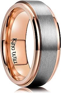 King Will 8mm Mens Rose Gold Titanium Wedding Ring Spinner Matte Finish High Polished