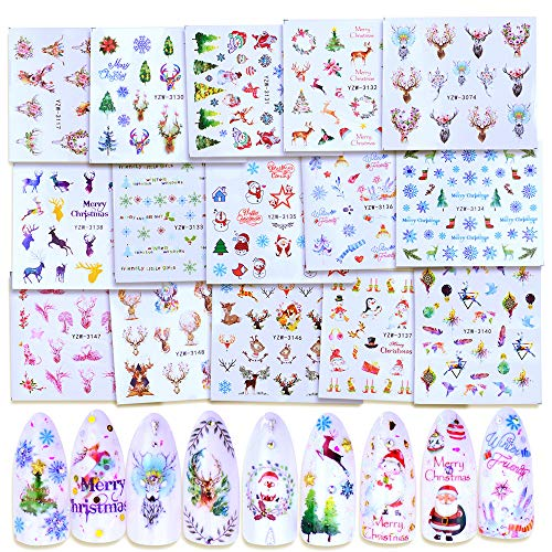 Macute Christmas Nail Art Stickers Decals Colorful Christmas Theme Nails Supply Nail Art Accessories Street 15 Sheets Snowflake Xmas Tree Snowman Deer Designs for Women Acrylic Nail Art Decorations