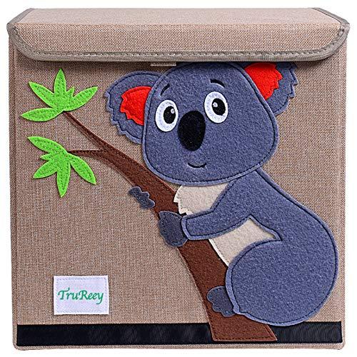 TruReey Falt-Aufbewahrungsbox mit Deckel, stabil, klappbar, leicht zu reinigen und zu organisieren, Spielzeug-Aufbewahrungsbox, Stoff, 33x 33x 33cm. Koala
