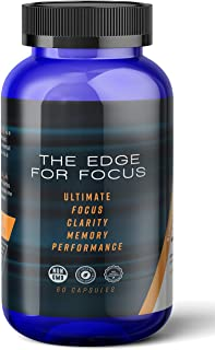 The Edge For Focus Premium Organic, all Natural, Nootropic Brain Booster Supplement - For Ultimate Focus, Clarity, Memory, Energy and Cognitive Performance. NON GMO & Gluten Free Natural IQ Enhancer w