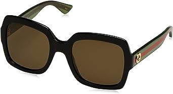 Gucci GG0036S 002 Occhiali da Sole, Nero (Black/Brown), 54 Donna