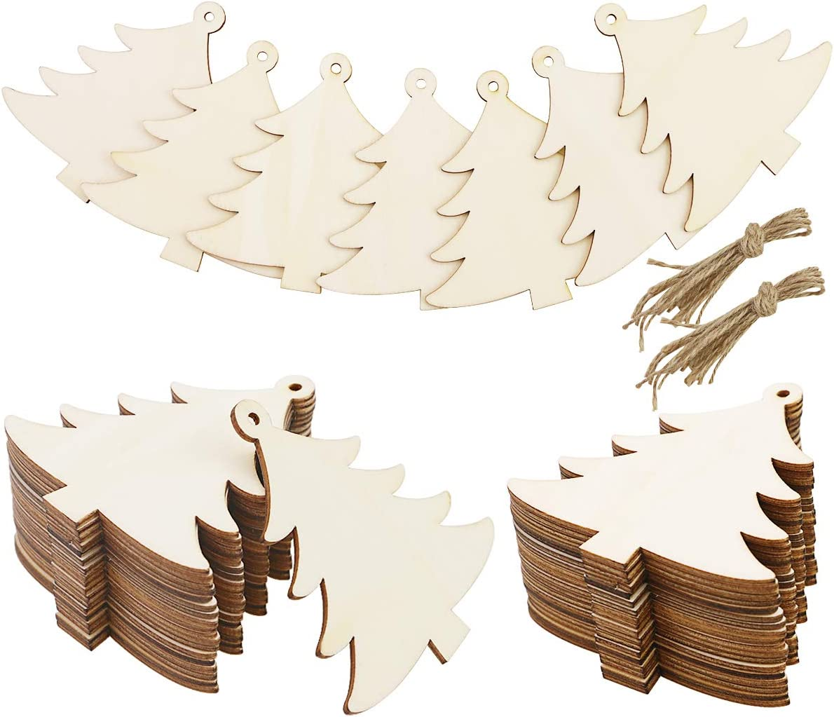 Ranking TOP13 WYKOO 50 Pieces Unpainted Wooden Sale price Tree Slices for Shape Christmas