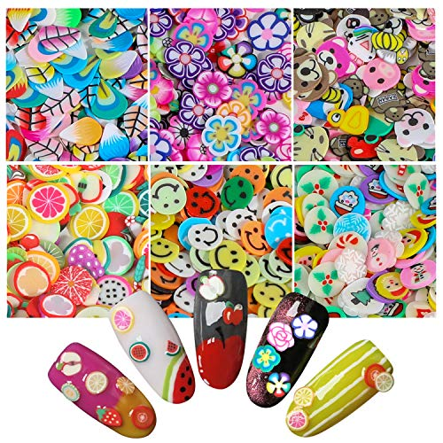 3000 Pcs Cute Nail Art Slices,MWOOT 3D Assorted Fruit Animals Flowers Slices Nail Art Slices Decals for Nail Art Decoration