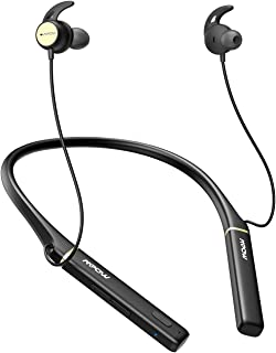 Mpow Upgraded Active Noise Cancelling Bluetooth Headphones, V5.0 Bluetooth Headset Neckband 16 Hours Playtime, Call Vibrate, Wireless Neckband Earbuds Magnetic, Black