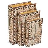 Decorative Storage Boxes, Eiffel Tower Book Design (3 Sizes, 3 Pack)